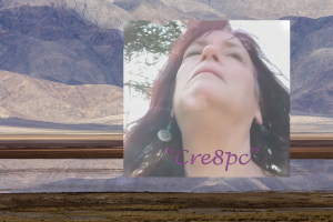 Background of a desert mountains with a picture of Kims face imposed over it.