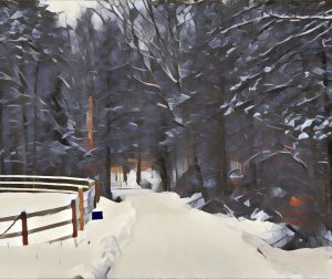 An artistic photograph rendering of the long driveway leading to the barn.